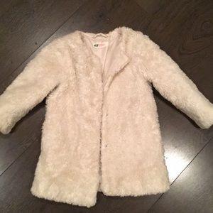 H & M faux fur pea coat 3-4 YR